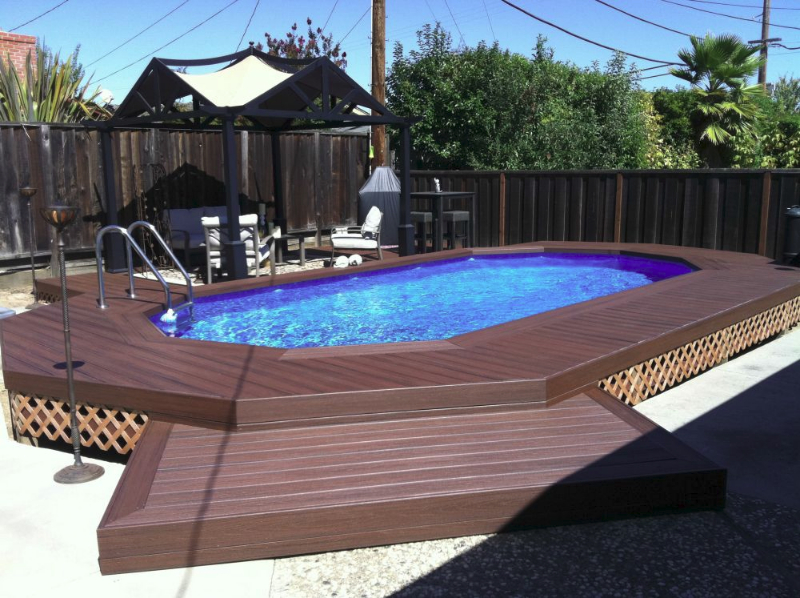 Inground pools the poolyard for Above ground pool composite decks
